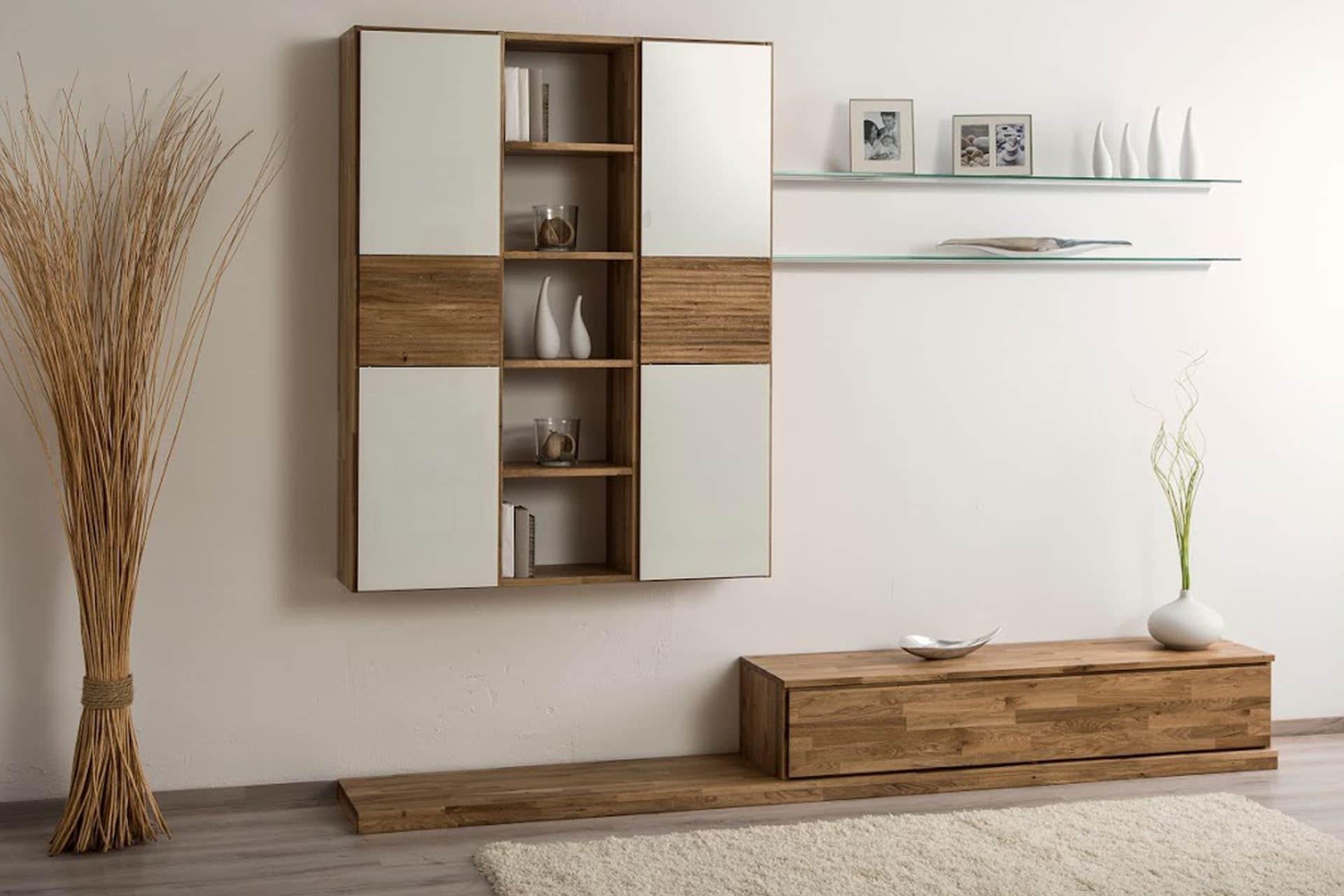 wohnwand trendnatur mit h ngeregalschrank ko control. Black Bedroom Furniture Sets. Home Design Ideas